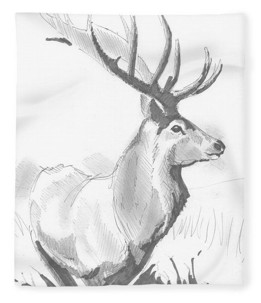 Stag Drawing Fleece Blanket