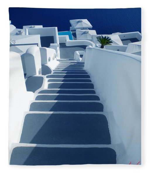 Fleece Blanket featuring the photograph Stairs Down To Ocean Santorini by Colette V Hera  Guggenheim
