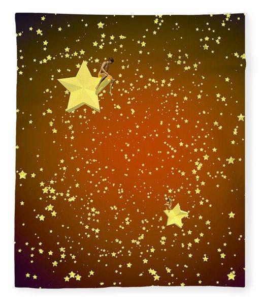 Fleece Blanket featuring the digital art Star Gazers by Matt Lindley