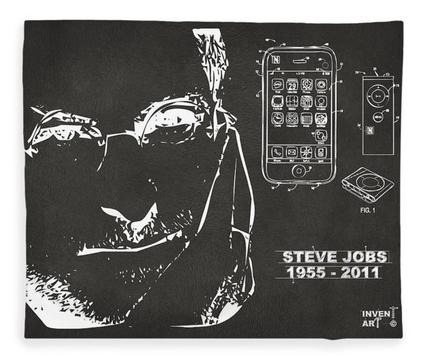 Steve Jobs Iphone Patent Artwork Gray Fleece Blanket
