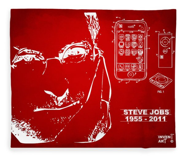 Steve Jobs Iphone Patent Artwork Red Fleece Blanket