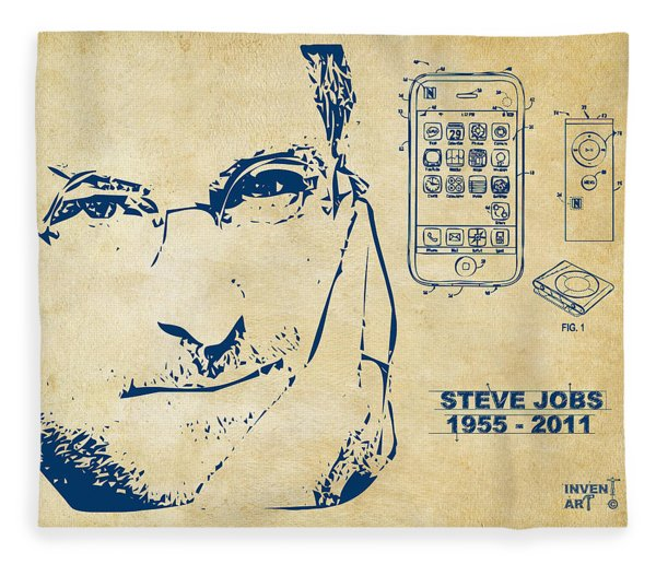 Steve Jobs Iphone Patent Artwork Vintage Fleece Blanket