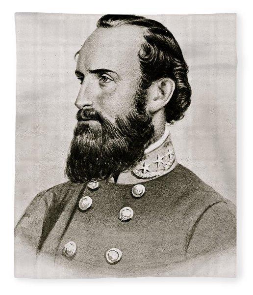 Stonewall Jackson Confederate General Portrait Fleece Blanket