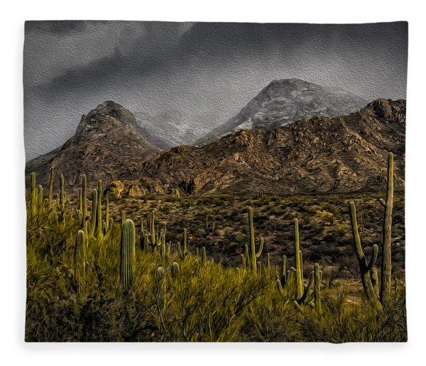 Storm Over Catalinas Aso Fleece Blanket