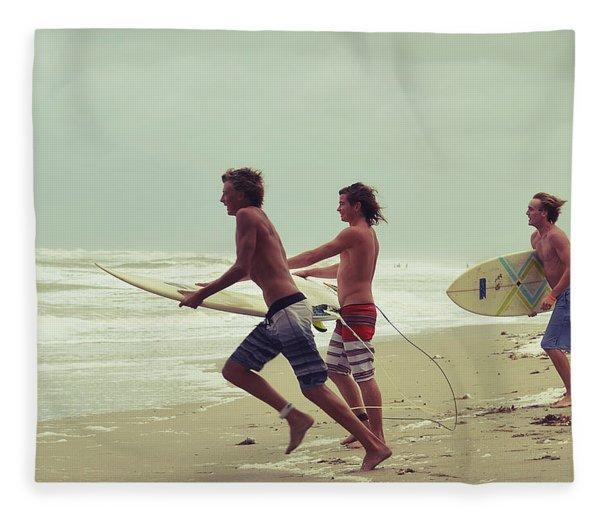 Storm Surfers Fleece Blanket