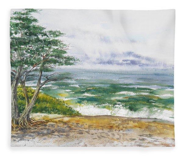 Stormy Morning At Carmel By The Sea California Fleece Blanket