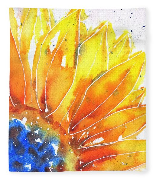 Sunflower Blue Orange And Yellow Fleece Blanket