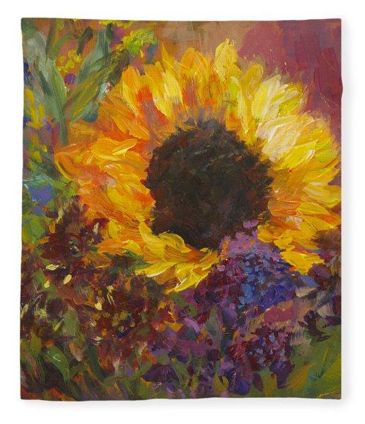 Sunflower Dance Original Painting Impressionist Fleece Blanket