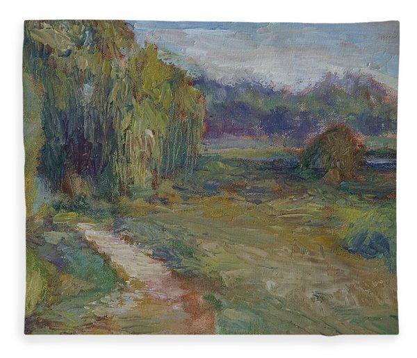 Sunny Morning In The Park -wetlands - Original - Textural Palette Knife Painting Fleece Blanket
