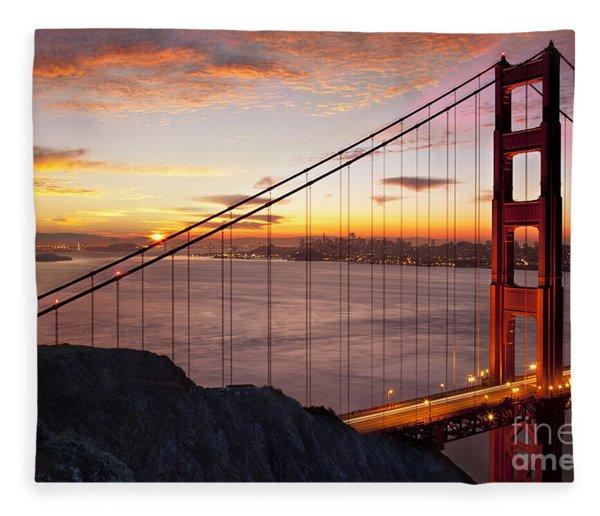 Fleece Blanket featuring the photograph Sunrise Over The Golden Gate Bridge by Brian Jannsen