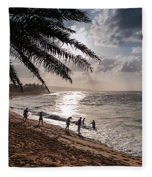 Sunset Beach Park Fleece Blanket