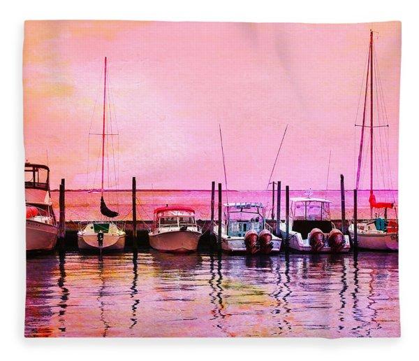 Sunset Boats Fleece Blanket