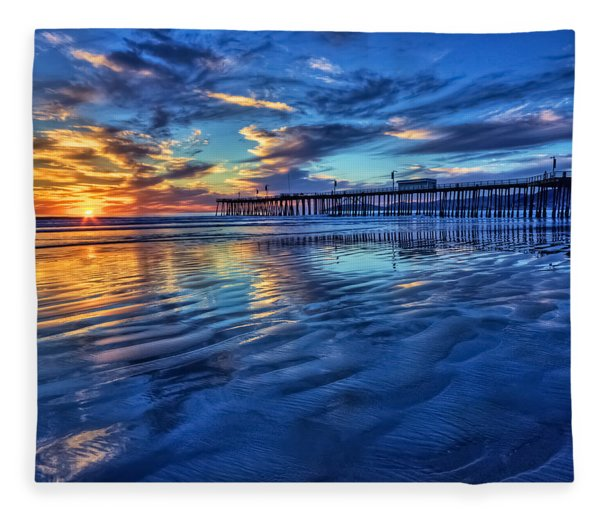 Sunset In Blue Fleece Blanket