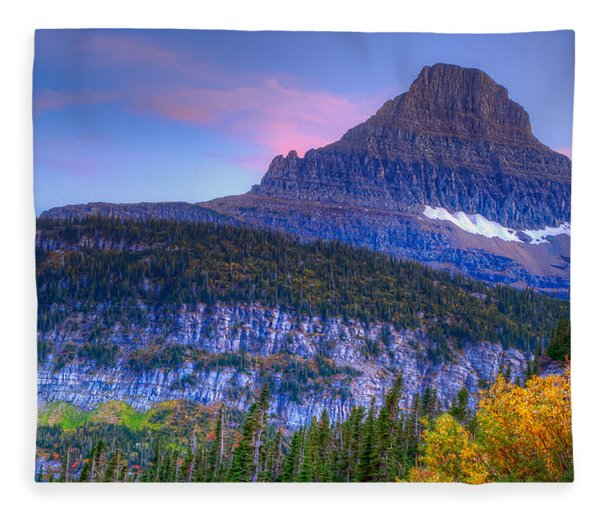 Sunset On Reynolds Mountain Fleece Blanket