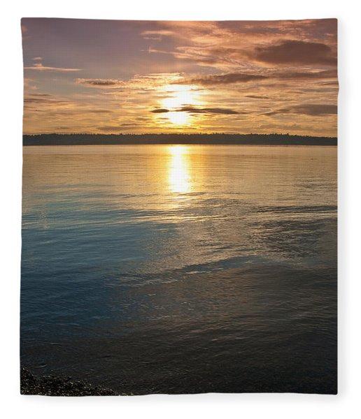 Sunset Over Puget Sound Fleece Blanket
