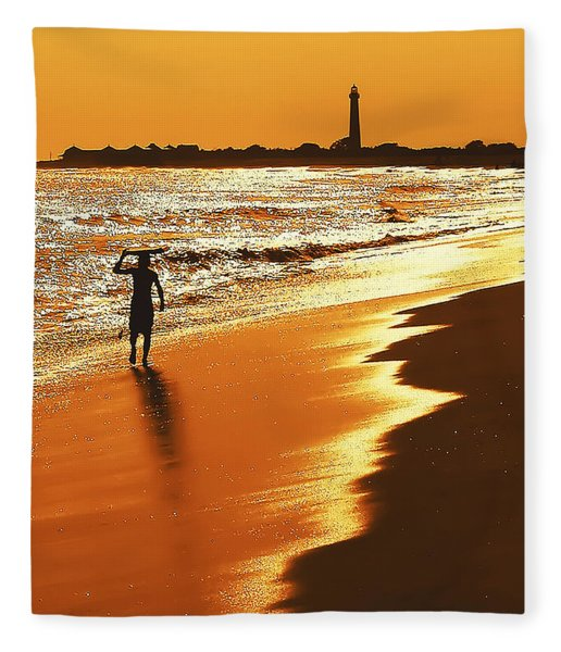 Sunset Surfer Fleece Blanket