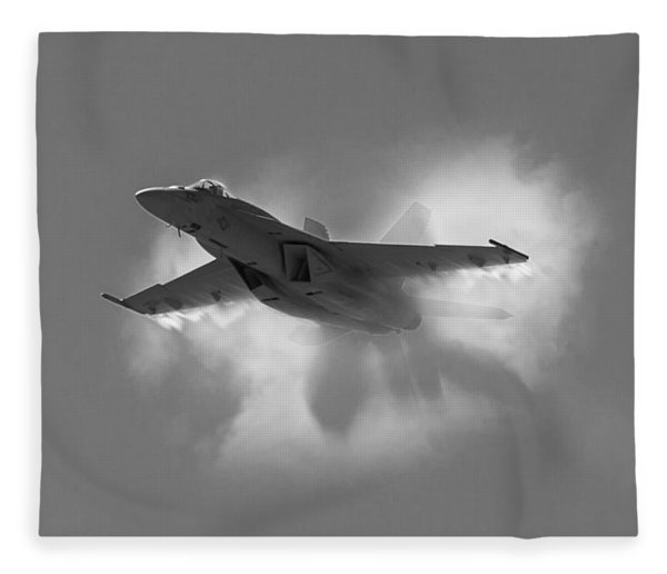 Super Hornet Shockwave Bw Fleece Blanket