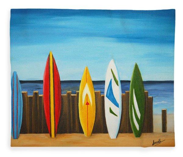 Surf On Fleece Blanket