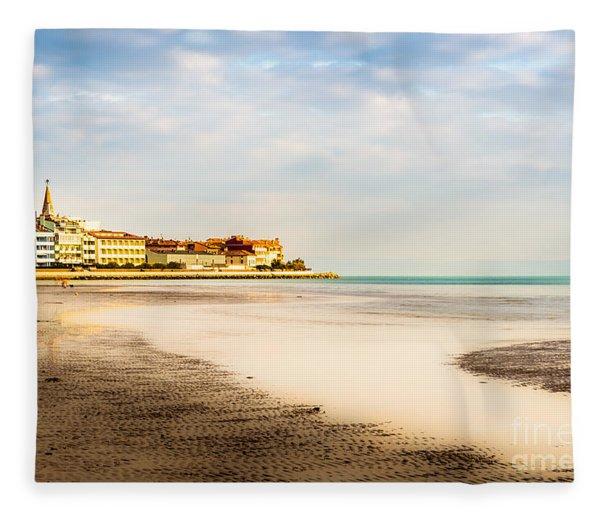 Take A Walk At The Beach Fleece Blanket