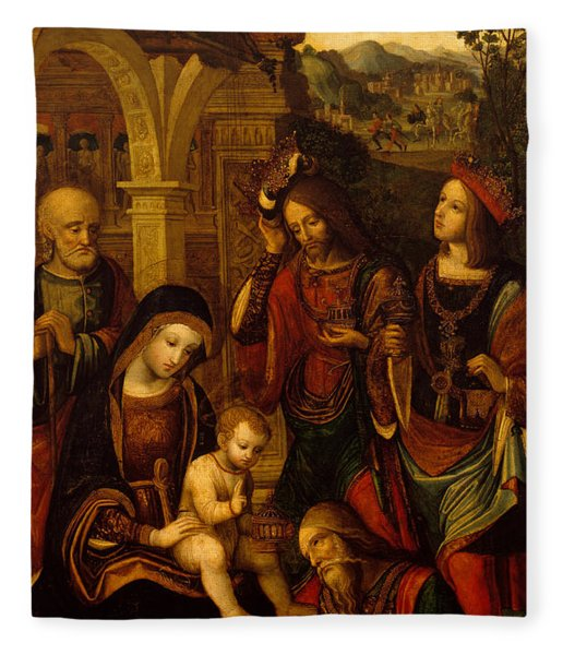 The Adoration Of The Kings Fleece Blanket