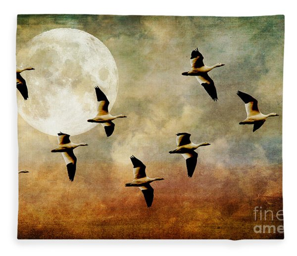 The Flight Of The Snow Geese Fleece Blanket