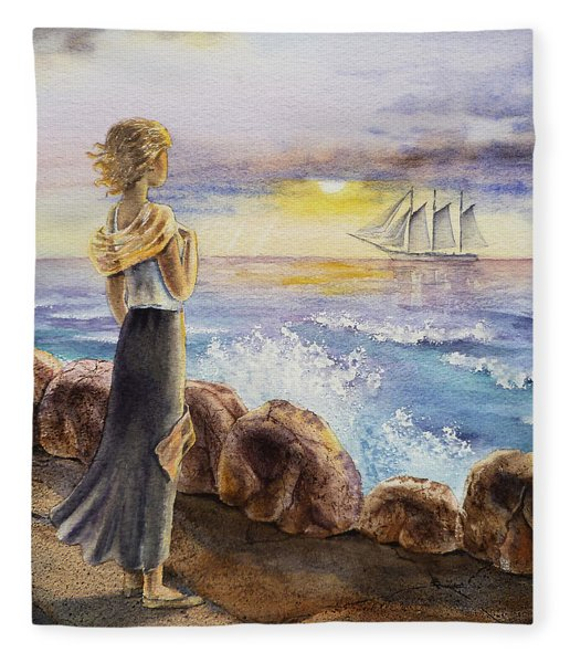 The Girl And The Ocean Fleece Blanket