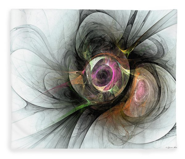 Fleece Blanket featuring the digital art The Golden Reflection by Sipo Liimatainen