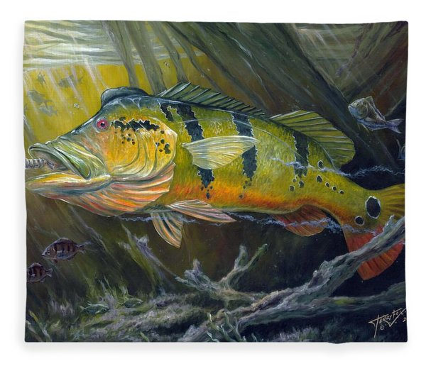 The Great Peacock Bass Fleece Blanket