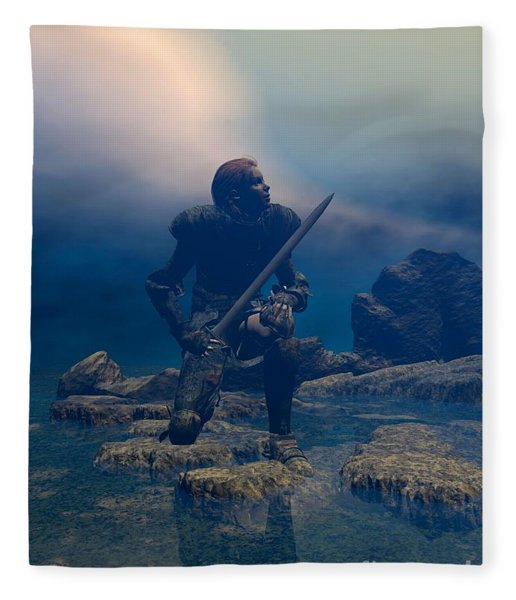 Fleece Blanket featuring the digital art The Hand Of God On Your Head by Sipo Liimatainen