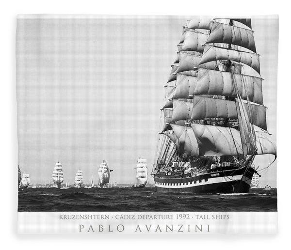 The Kruzenshtern Departing The Port Of Cadiz Fleece Blanket