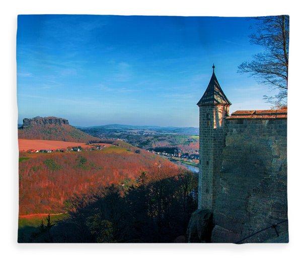 The Lilienstein Behind The Fortress Koenigstein Fleece Blanket