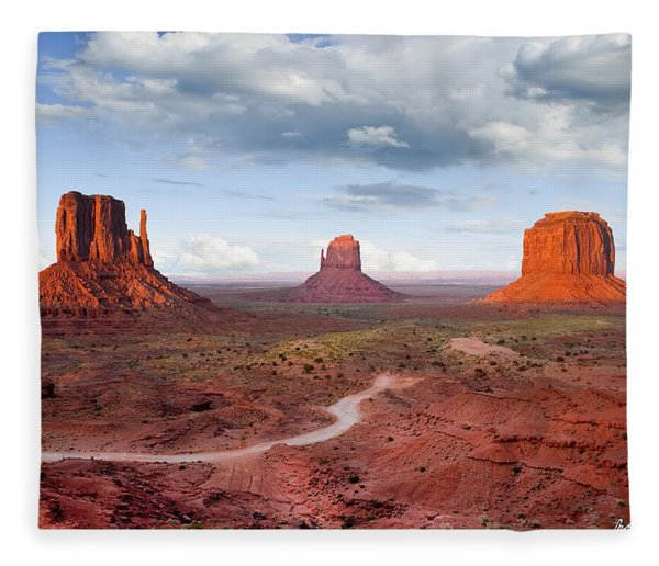 The Mittens And Merrick Butte At Sunset Fleece Blanket