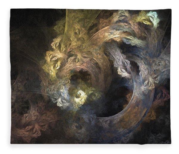 Fleece Blanket featuring the digital art The Mystical Garden - Abstract Art by Sipo Liimatainen