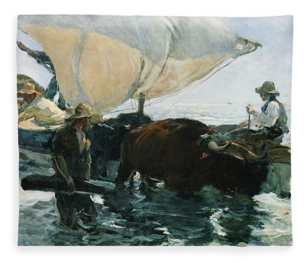 The Return From Fishing Fleece Blanket