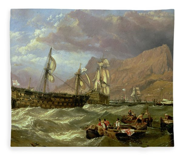 The Victory Towed Into Gibraltar Fleece Blanket