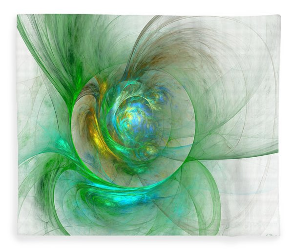 Fleece Blanket featuring the digital art The Whole World In A Small Flower by Sipo Liimatainen
