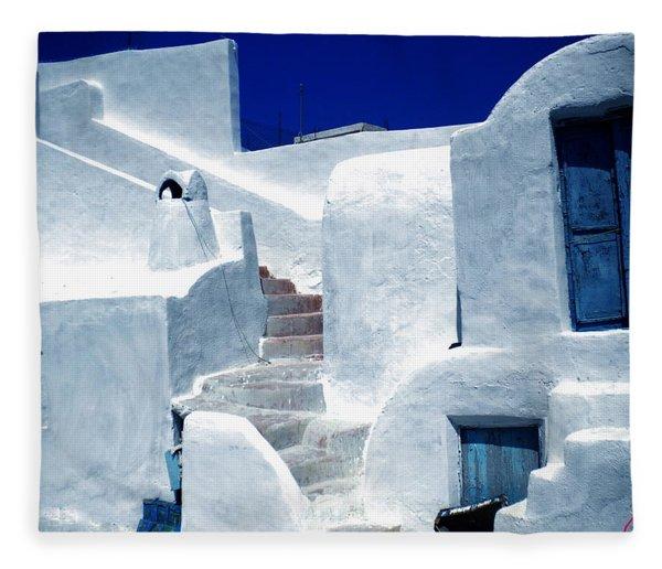 Fleece Blanket featuring the photograph Thirasia Island Ancient House Near Santorini Greece by Colette V Hera  Guggenheim