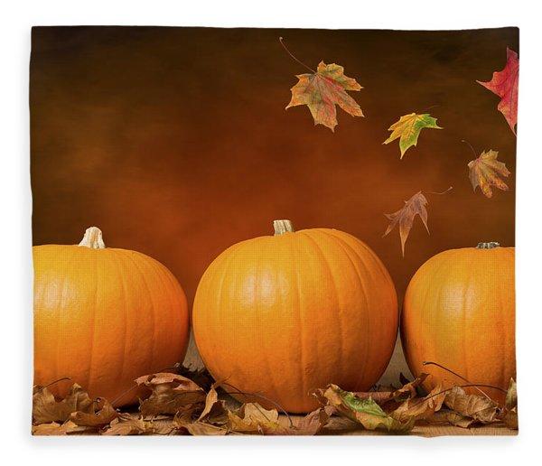 Three Pumpkins Fleece Blanket