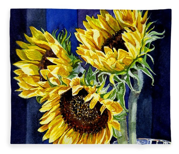 Three Sunny Flowers Fleece Blanket
