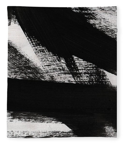Timber 2- Horizontal Abstract Black And White Painting Fleece Blanket