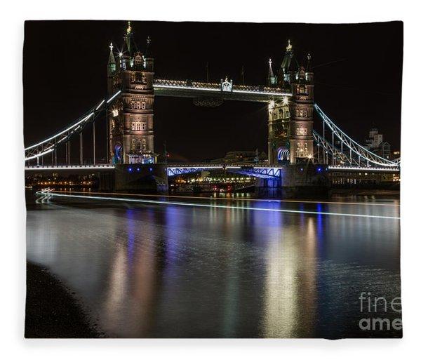 Tower Bridge With Boat Trails Fleece Blanket