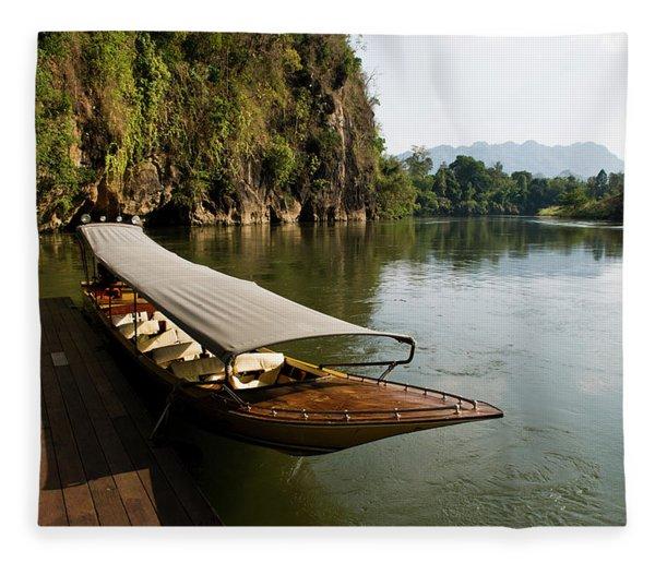 Traditional Thai Long Boat Docked Fleece Blanket