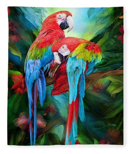 Tropic Spirits - Macaws Fleece Blanket