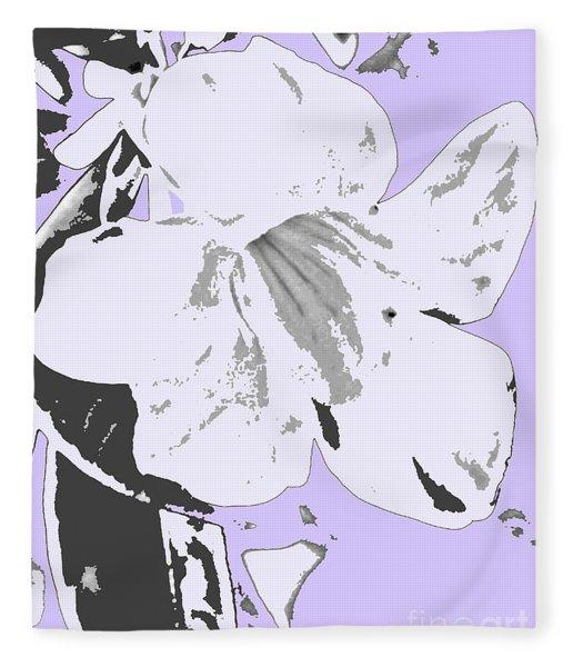 Tropical Floral Violet Black Fleece Blanket