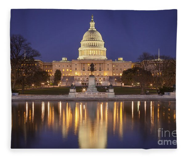 Fleece Blanket featuring the photograph Twilight At Us Capitol by Brian Jannsen