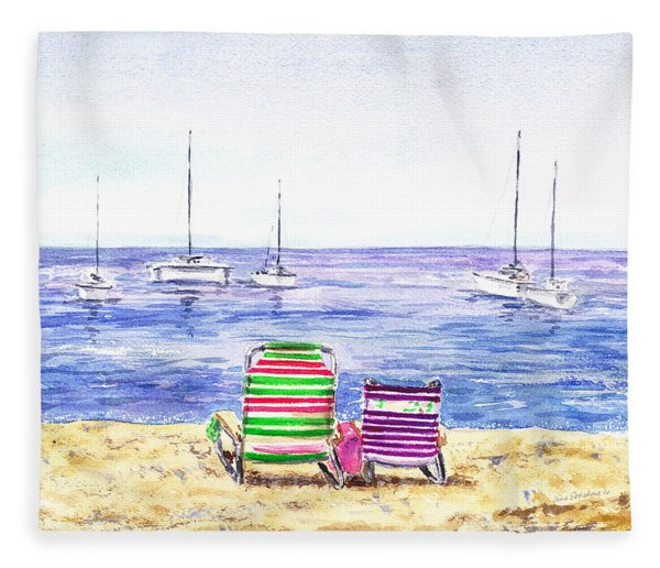 Two Chairs On The Beach Fleece Blanket