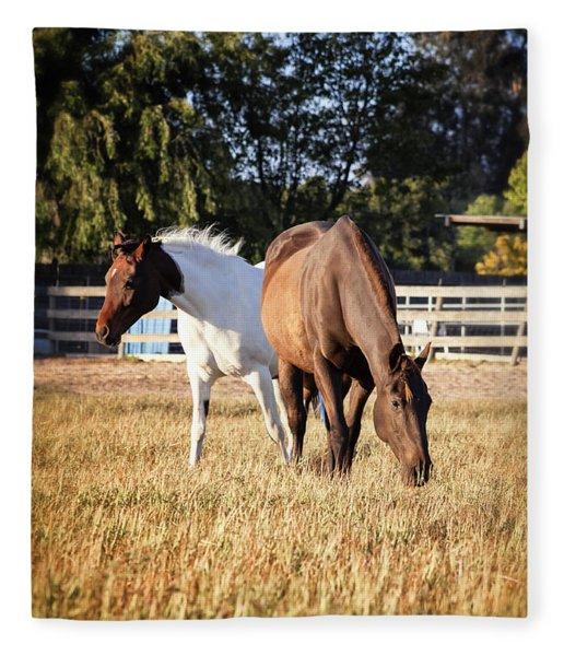 Two Horses Fleece Blanket