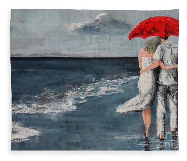 Under Our Umbrella - Modern Impressionistic Art - Romantic Scene Fleece Blanket