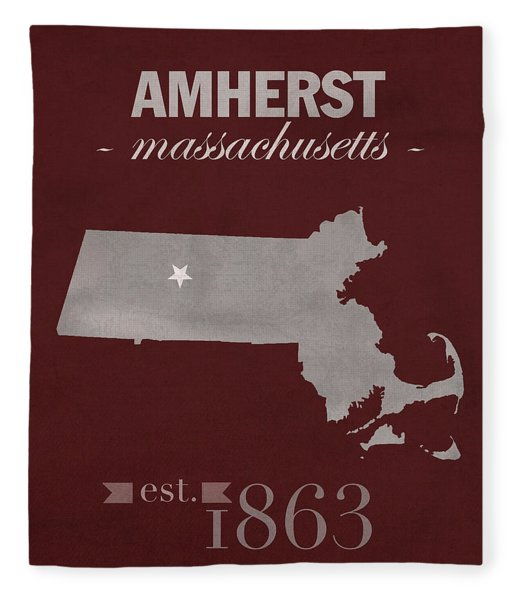 University Of Massachusetts Umass Minutemen Amherst College Town State Map Poster Series No 062 Fleece Blanket