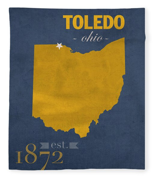 University Of Toledo Ohio Rockets College Town State Map Poster Series No 112 Fleece Blanket